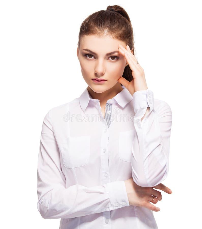 Fêmea nova no fundo branco imagem de stock royalty free