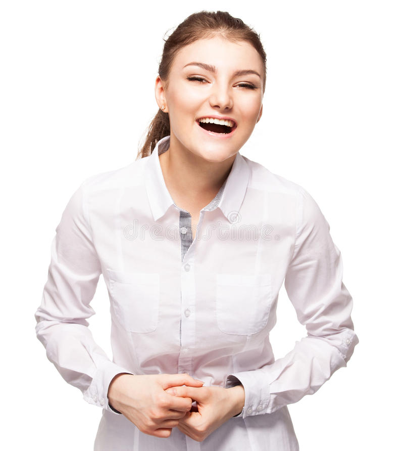 Fêmea nova no fundo branco imagens de stock