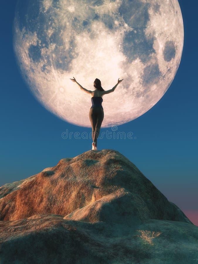 A fêmea nova que olha a lua ilustração royalty free