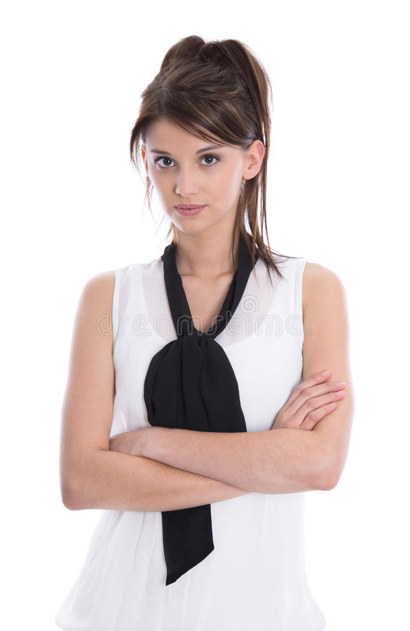 Fêmea séria isolada com braços cruzados. foto de stock