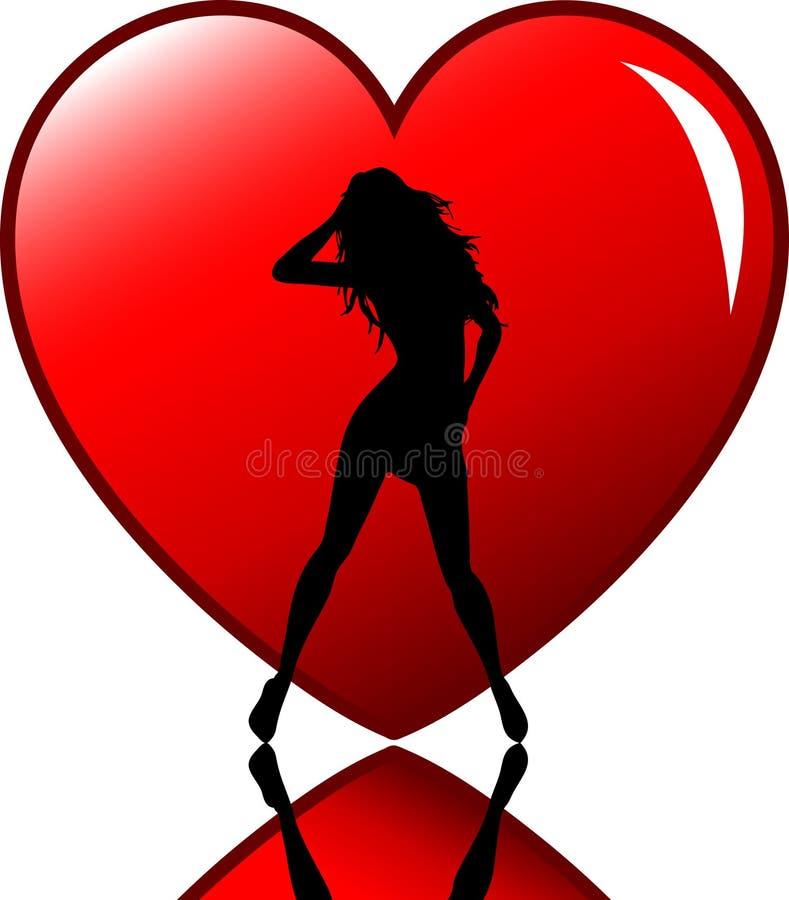 Fêmea 'sexy' no coração ilustração do vetor