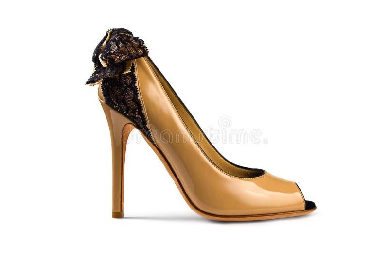 Fêmea Yellow-brown shoe-1 fotos de stock royalty free