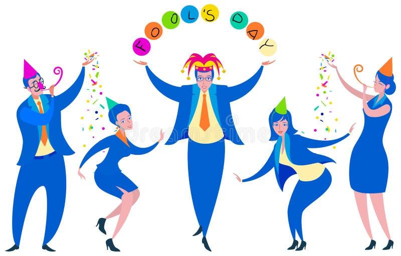 Fête au bureau 1er avril dupe le jour Roi des danses d'imbéciles parmi des collègues illustration de vecteur