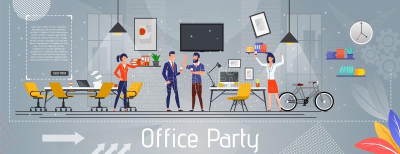 Fête au bureau et succès célébrant la bannière plate illustration libre de droits