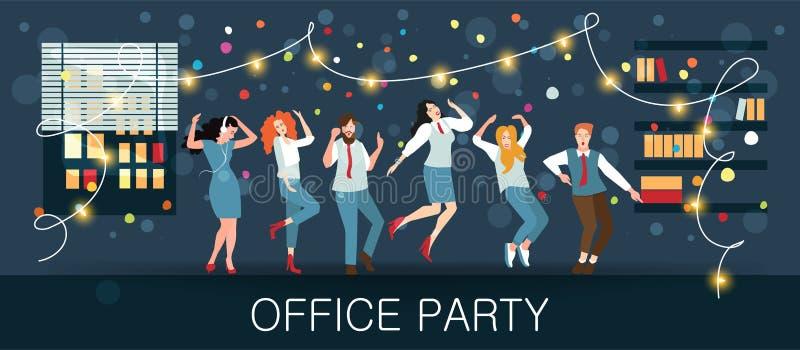 Fête au bureau, le carnaval de nouvelle année, festival, vacances Les directeurs célèbrent Noël et la nouvelle année illustration de vecteur