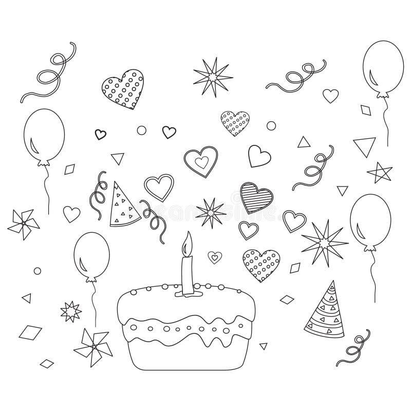 Fête d'anniversaire et un gâteau, découpe illustration libre de droits