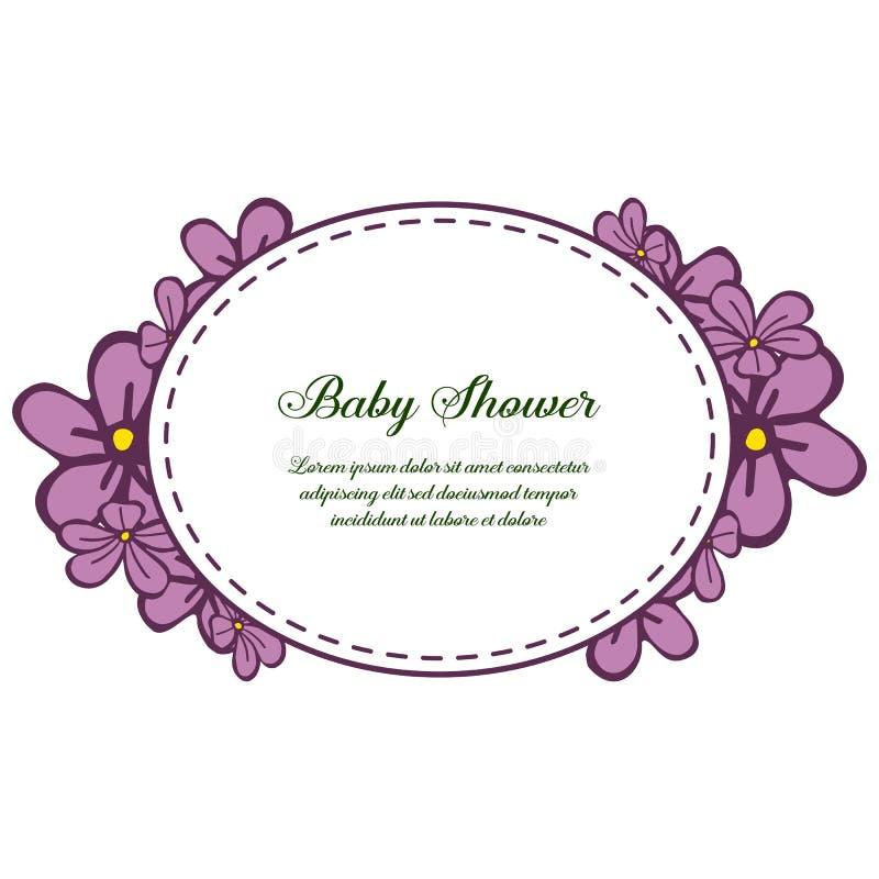 Fête de naissance de bannière d'illustration de vecteur avec les cadres pourpres très lumineux de fleur illustration libre de droits