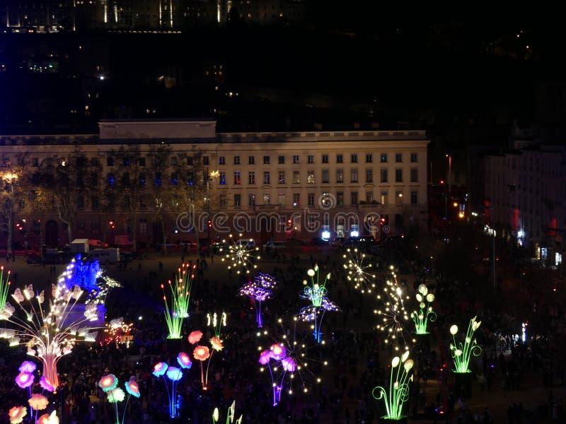 Fête des Lumières de Lyon, Place Bellecour.  royalty free stock photos