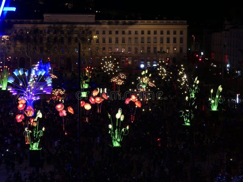 Fête des Lumières de Lyon, Place Bellecour.  stock photos