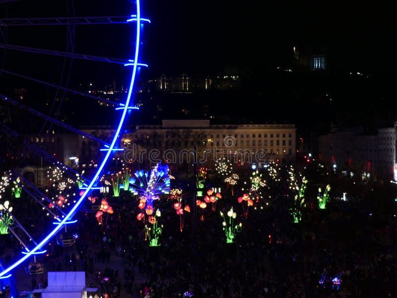 Fête des Lumières de Lyon, Place Bellecour.  stock image