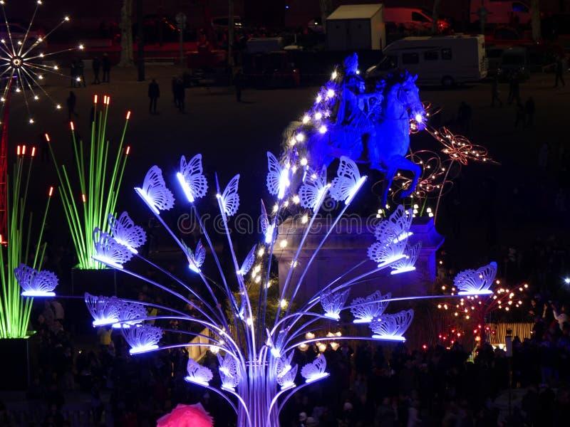 Fête des Lumières de Lyon, Place Bellecour.  royalty free stock photography