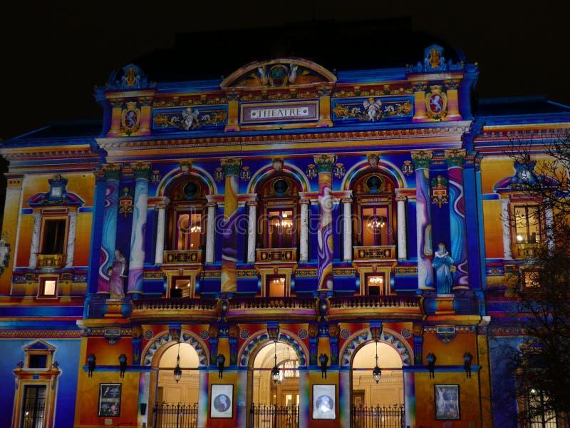 Fête des Lumières de Lyon, Théâtre des Célestins.  royalty free stock images