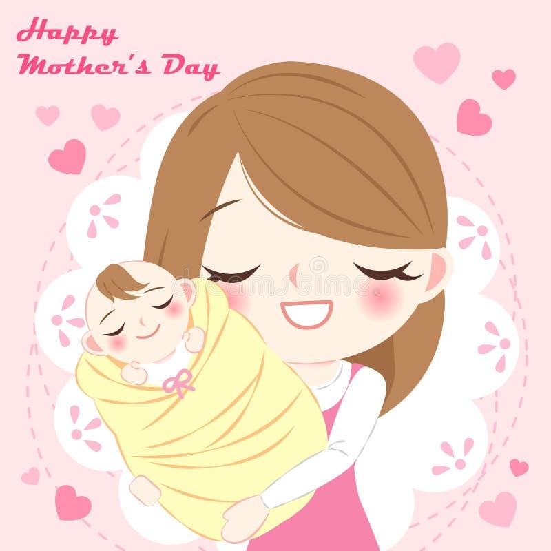 Fête des mères heureuse de bande dessinée illustration stock