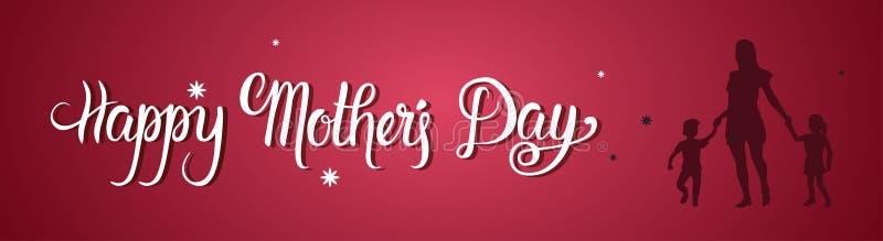 Fête des mères heureuse, maman de silhouette tenant des mains d'enfants, bannière de carte de voeux de vacances de ressort illustration de vecteur
