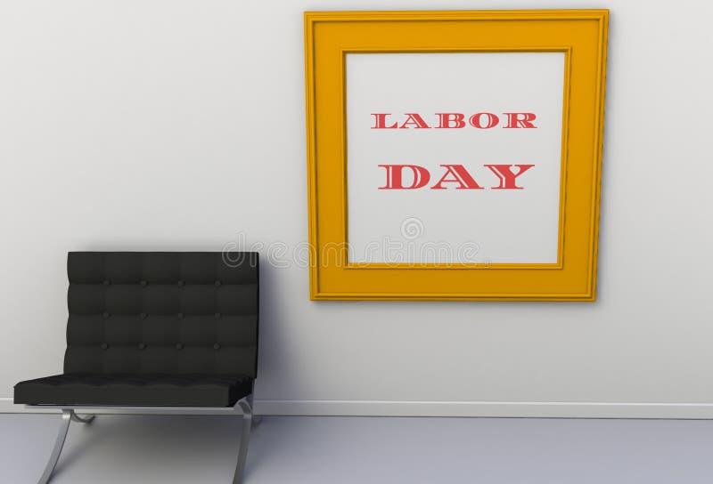 FÊTE DU TRAVAIL, message sur le cadre de tableau, chaise dans une salle vide illustration libre de droits
