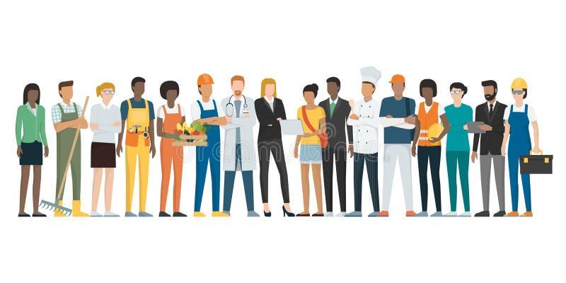Fête du travail : travailleurs posant ensemble et se tenant illustration de vecteur