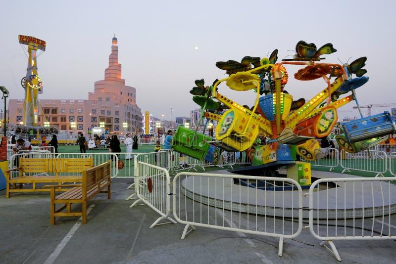 Fête foraine dans Doha photo libre de droits