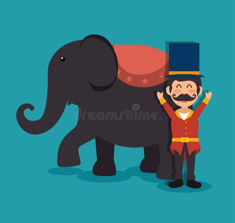 fête foraine de festival d'exposition de cirque d'éléphant de centre serveur illustration libre de droits