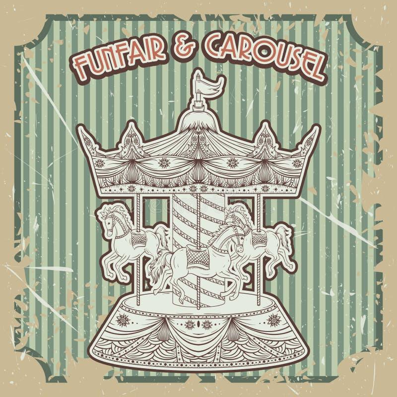 Fête foraine et carrousel d'affiche de vintage sur le fond grunge Éléments d'isolement illustration de vecteur