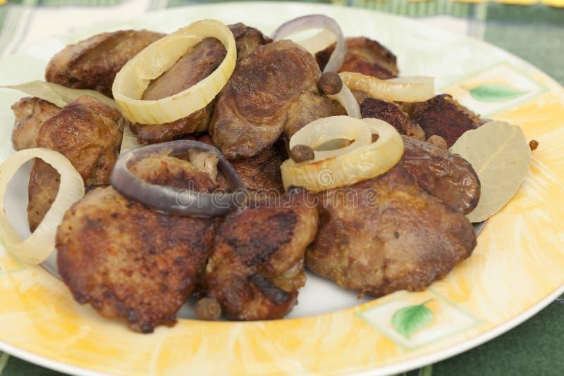 Fígado com galinha fotografia de stock