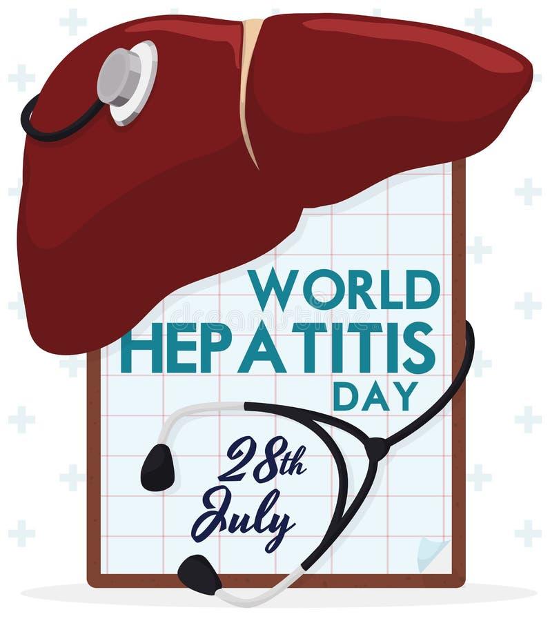 Fígado com um estetoscópio e uma prancheta que comemoram o dia da hepatite, ilustração do vetor ilustração do vetor