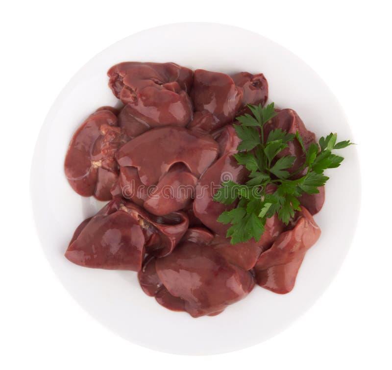 Fígado de galinha cru imagem de stock