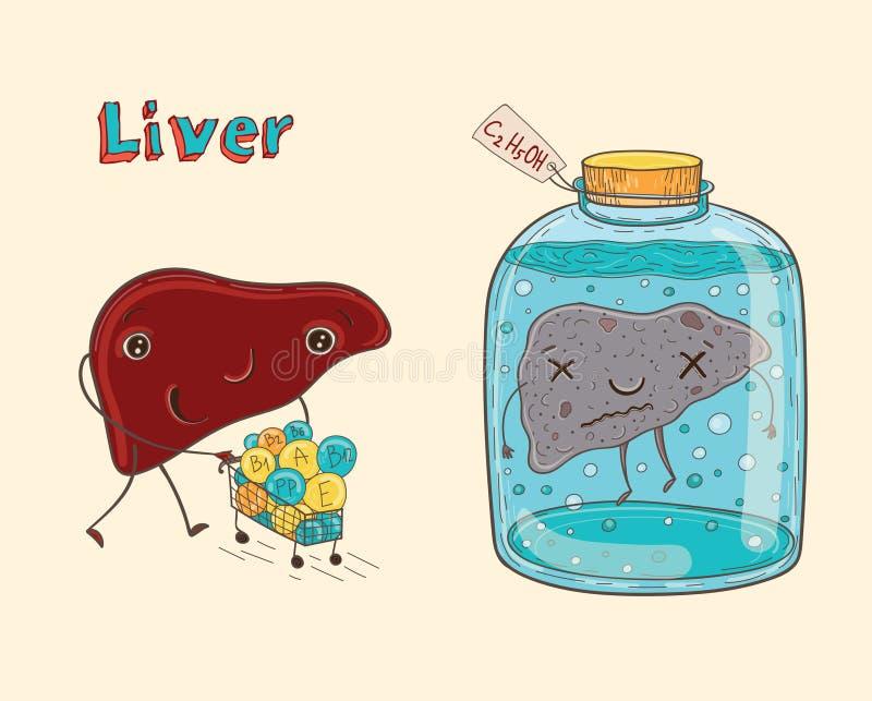 Fígado do ser humano do personagem de banda desenhada ilustração do vetor