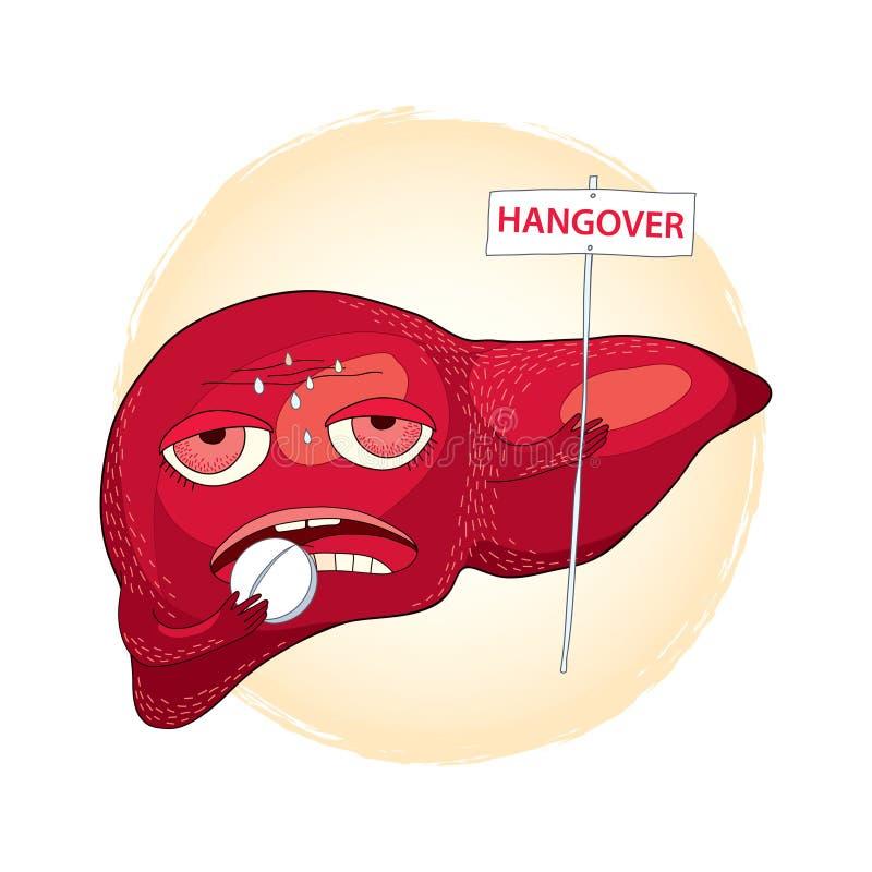 Fígado doente que toma comprimidos e que guarda um sinal com a palavra MANUTENÇÃO Manutenção ou efeitos do álcool no estilo dos d ilustração do vetor
