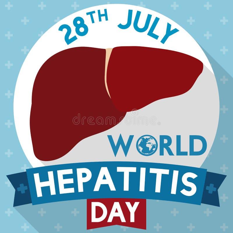 Fígado saudável para o dia da hepatite com projeto longo da sombra, ilustração do vetor ilustração royalty free