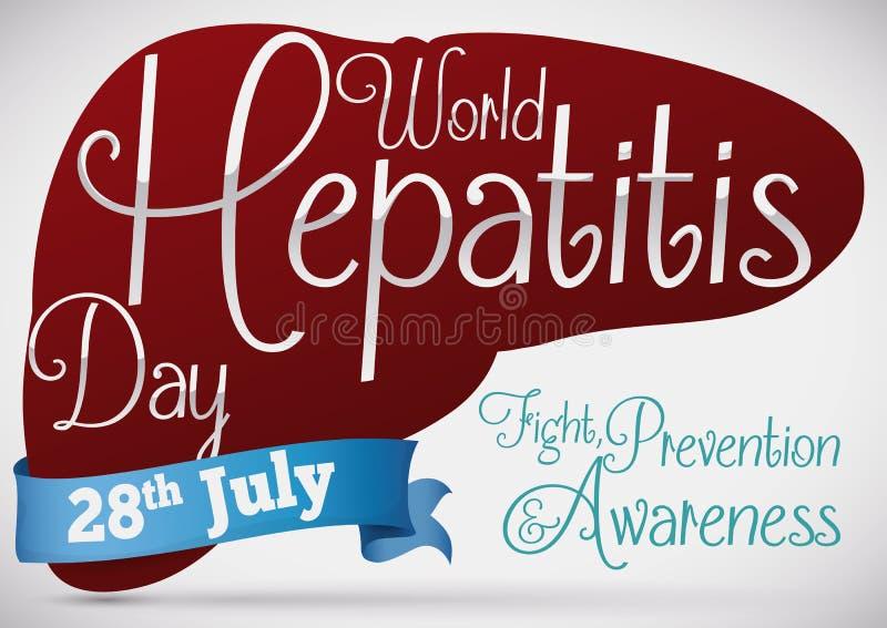 Fígado saudável que promove a prevenção de doenças hepáticas no dia da hepatite, ilustração do vetor ilustração stock
