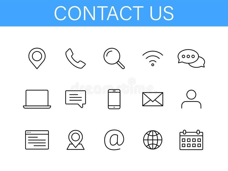 Fíjenos de contacto los iconos de la web en la línea estilo Web e icono móvil Charla, ayuda, mensaje, teléfono Ilustración del ve ilustración del vector