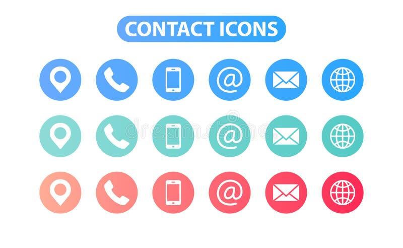 Fíjenos de contacto los iconos de la web en la línea estilo Web e icono móvil Charla, ayuda, mensaje, teléfono Ilustración del ve libre illustration