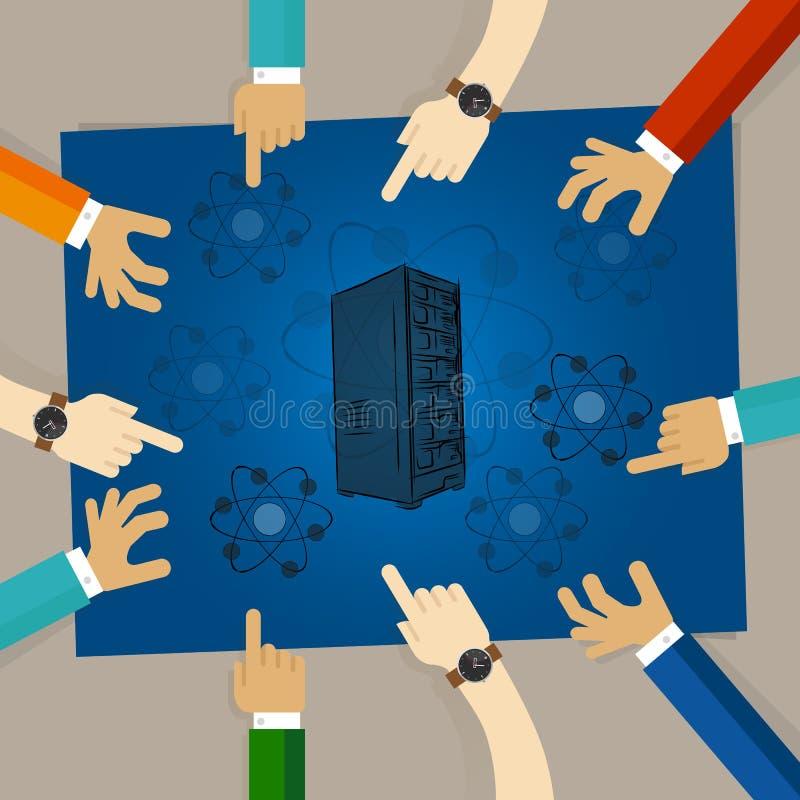 Física de la molécula del elemento de la tecnología del servidor del cómputo de Quantum la bio da el trabajo junta en equipo stock de ilustración