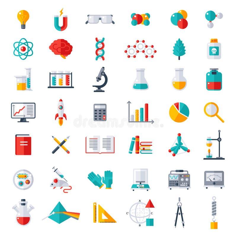 Física, química, ícones da biologia ajustados ilustração stock