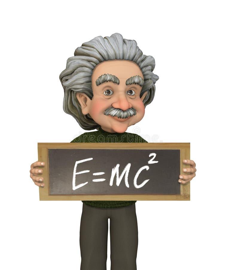 Físico Albert Einstein que presenta su fórmula en una pizarra ilustración del vector