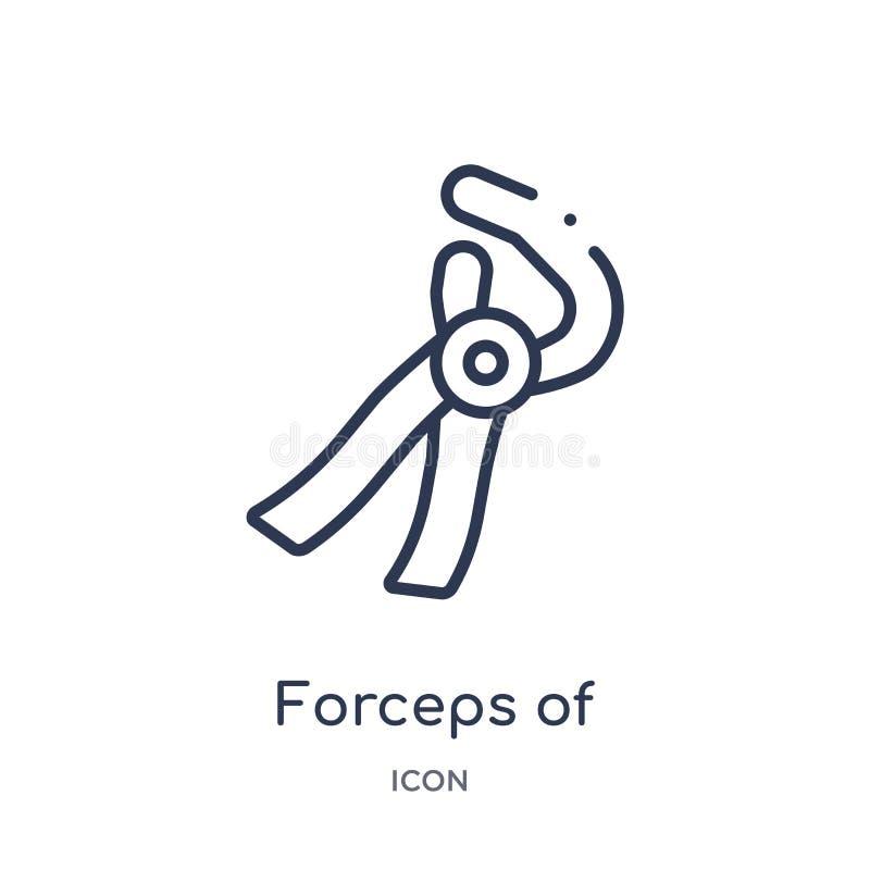 Fórceps linear del icono de las herramientas del dentista de la colección del esquema del dentista Línea fina fórceps de icono de stock de ilustración