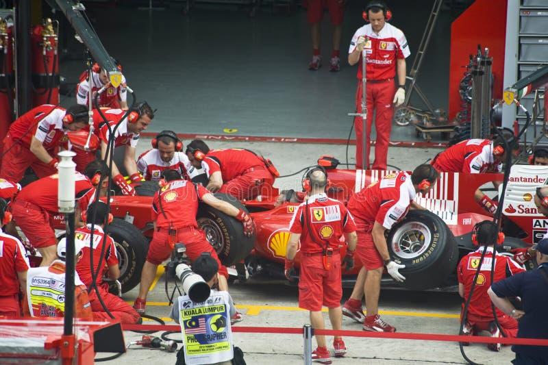 Fórmula 1 de Scuderia Ferrari Marlboro que compete a equipe imagens de stock