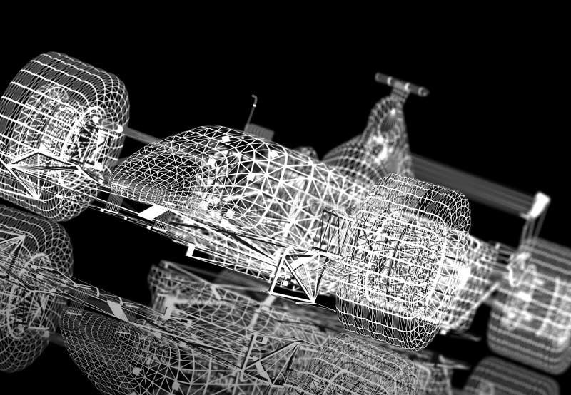 Fórmula 1 de Wireframe ilustração stock
