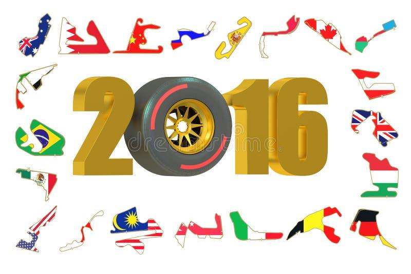 Fórmula 1 2016 conceitos ilustração royalty free