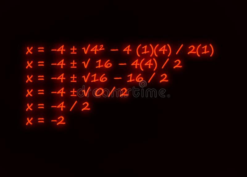 Fórmula cuadrático escrita en neón fotografía de archivo libre de regalías