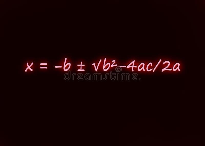 Fórmula cuadrático escrita en neón foto de archivo
