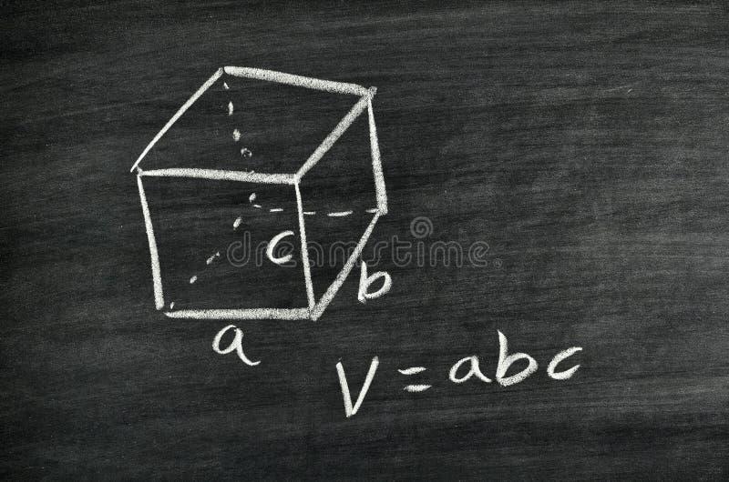 Fórmula Cuboid do volume foto de stock royalty free