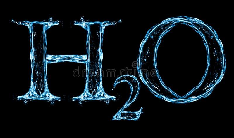 Fórmula da água do respingo de H2O foto de stock royalty free