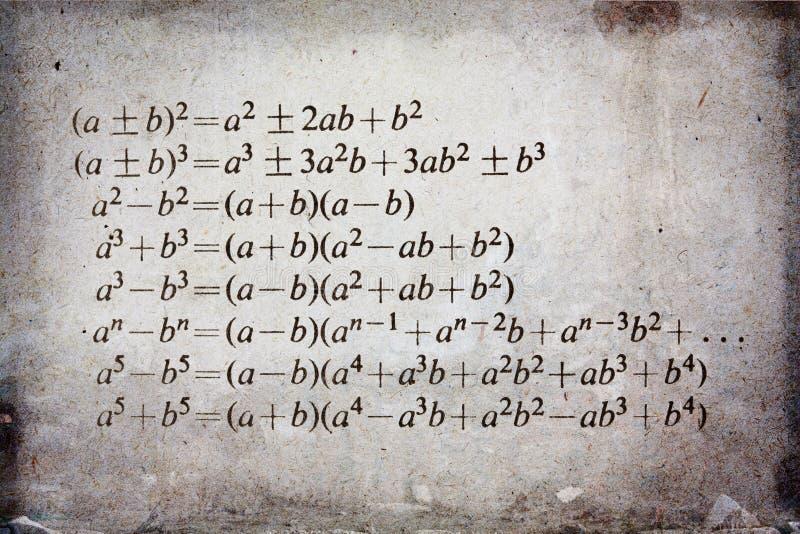 Fórmula de la álgebra imagen de archivo libre de regalías