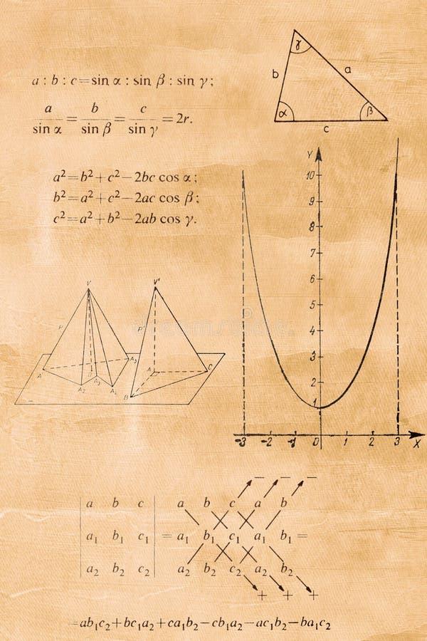 Fórmula de la álgebra, de la trigonometría y de la geometría fotos de archivo libres de regalías