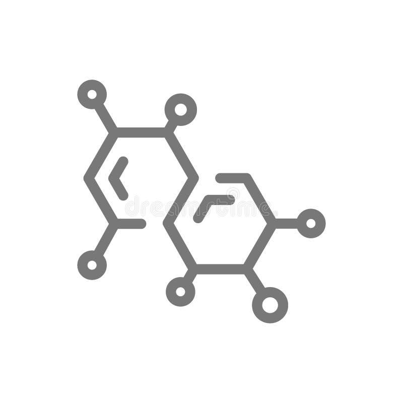 Fórmula de la química y línea simples icono de la molécula Diseño del ejemplo del símbolo y de la muestra Aislado en el fondo bla stock de ilustración