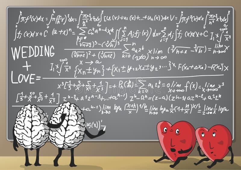 Fórmula do amor e do casamento ilustração do vetor