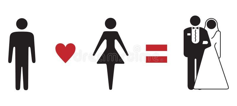 Fórmula do amor que wedding o sinal simbólico ilustração royalty free