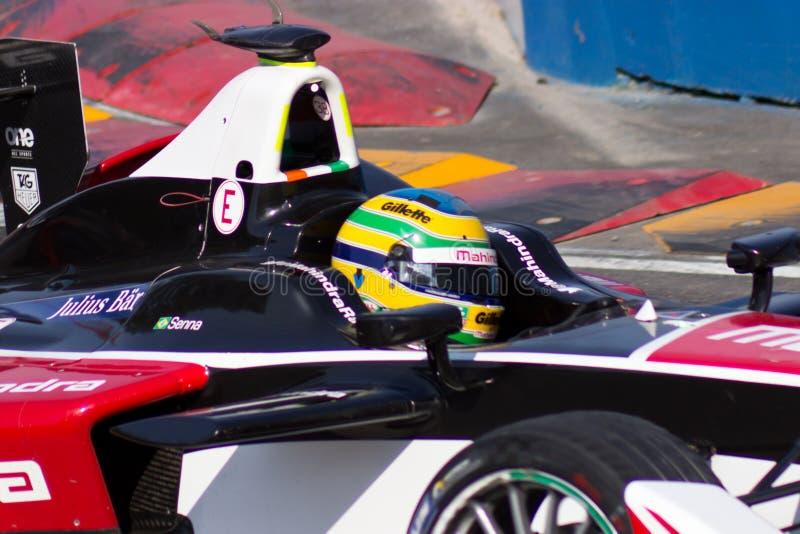 Fórmula E - Bruno Senna - competência de Mahindra imagem de stock royalty free