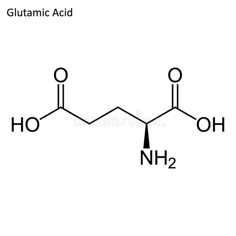 Fórmula esquelética del ácido glutámico libre illustration
